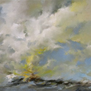(CreativeWork) Abstract landscape oil painting  - Theatre of the Clouds by Lamice Ali. oil-painting. Shop online at Bluethumb.