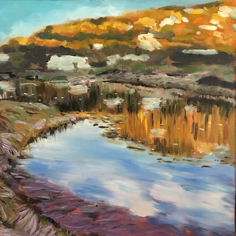 (CreativeWork) Betts Creek, early morning, Kosciuszko by fiona smith. Oil Paint. Shop online at Bluethumb.