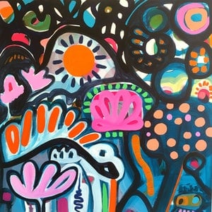 (CreativeWork) Night Garden by Sarah Morrow. arcylic-painting. Shop online at Bluethumb.