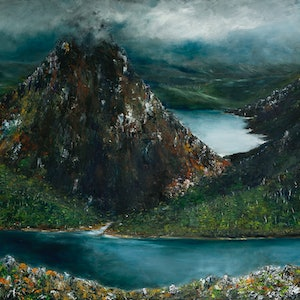"""(CreativeWork) """"Into The Wilderness"""" {The Du Cane range} by Georgina Richmond. oil-painting. Shop online at Bluethumb."""