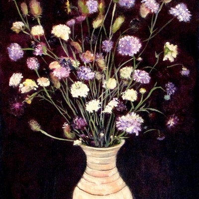(CreativeWork) Wild flowers 3 by Raymond Wittenberg. Oil Paint. Shop online at Bluethumb.