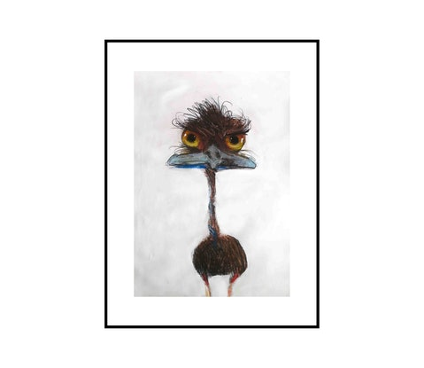 (CreativeWork) Emu 4 by John Graham. Mixed Media. Shop online at Bluethumb.