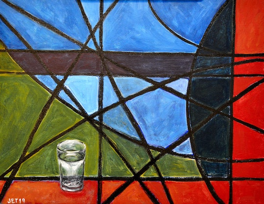 (CreativeWork) A Glass of Water by Janet Thomas. Mixed Media. Shop online at Bluethumb.
