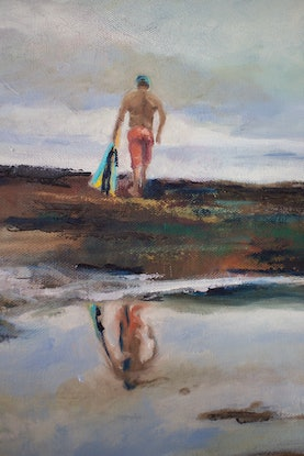 (CreativeWork) Thinking time, Freshwater Beach by fiona smith. Oil Paint. Shop online at Bluethumb.