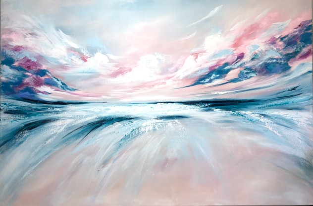 (CreativeWork) Swept Away (large scale 153x102cm)  by Kat Las. Acrylic Paint. Shop online at Bluethumb.