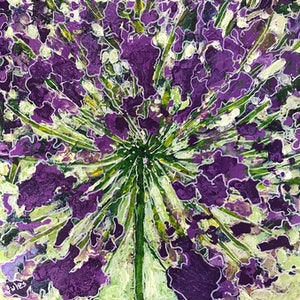 (CreativeWork) Burst of purple  by Jules Baldwin. mixed-media. Shop online at Bluethumb.