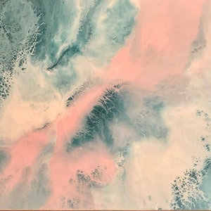 (CreativeWork) Hamptons Style - one of a kind painting in teal and blush by Debra Ryan. #<Filter:0x00007f995d0b5e70>. Shop online at Bluethumb.