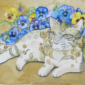 (CreativeWork) Cat and Pansies by Ikuko Maddox. watercolour. Shop online at Bluethumb.