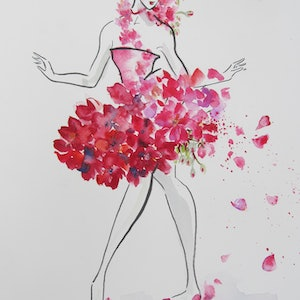 (CreativeWork) Geranium by Ikuko Maddox. watercolour. Shop online at Bluethumb.