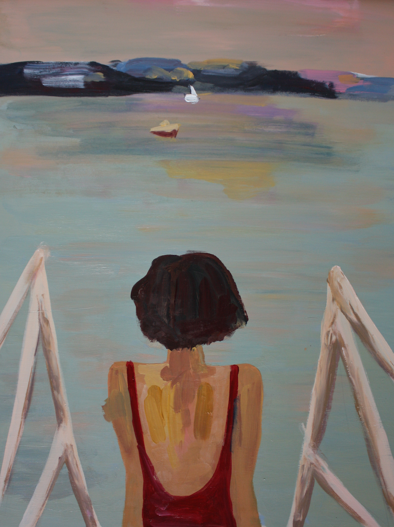(CreativeWork) Lady at the Beach by Lauren French. arcylic-painting. Shop online at Bluethumb.