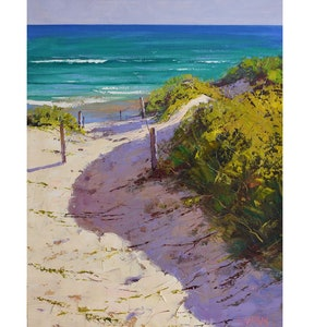 (CreativeWork) Coastal Dunescape, Nth Entrance , nsw  by Graham Gercken. oil-painting. Shop online at Bluethumb.