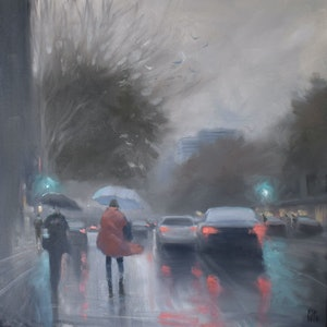(CreativeWork) Red Coat - O'Connell Street - rainy cityscape by Mike Barr. oil-painting. Shop online at Bluethumb.