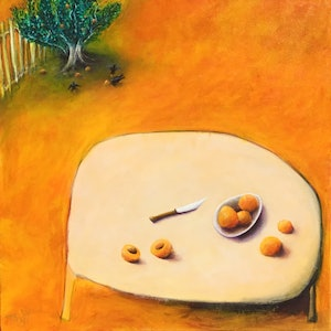 (CreativeWork) Summer with apricots by Tony Yallop. mixed-media. Shop online at Bluethumb.