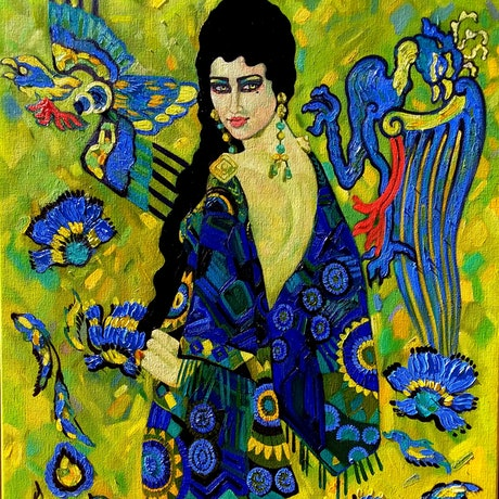 (CreativeWork) Sapphire  by Jenny Gil. Oil. Shop online at Bluethumb.