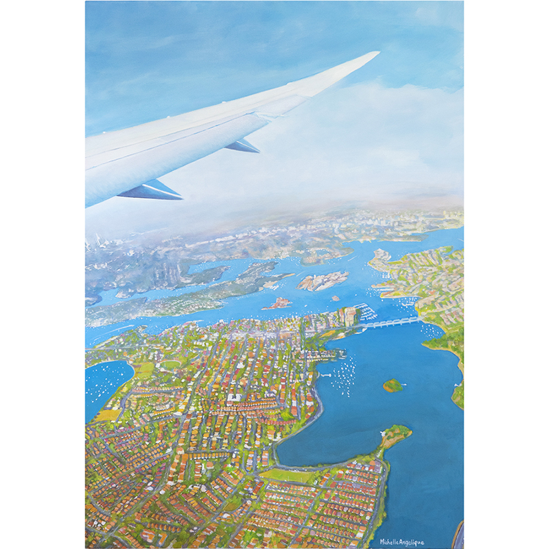 (CreativeWork) Sydney from the sky by Michelle Angelique. arcylic-painting. Shop online at Bluethumb.