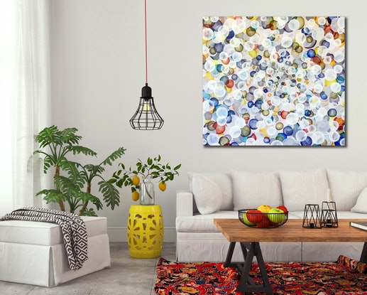 (CreativeWork) Spring Life Field I – Large Colourful Abstract Art by Jacquelyn Stephens. Mixed Media. Shop online at Bluethumb.