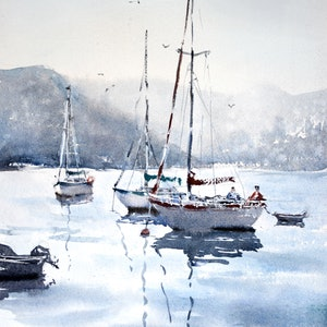 (CreativeWork) Pittwater Boats, Palm Beach Sydney by Chrysovalantou Mavroudis. watercolour. Shop online at Bluethumb.