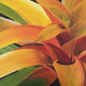 (CreativeWork) Golden Bromeliad by Heather Browne. arcylic-painting. Shop online at Bluethumb.