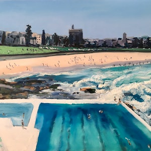(CreativeWork) Bondi Beach by Meredith Howse. oil-painting. Shop online at Bluethumb.