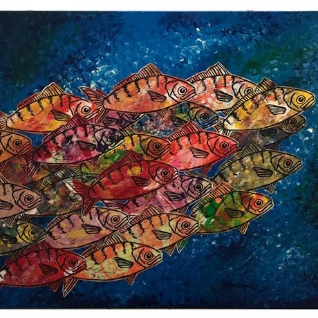 (CreativeWork) School of Fish by Annette Appleby. Mixed Media. Shop online at Bluethumb.