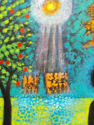 """(CreativeWork)  """"Aliens landing in the garden"""" by Catherine Walker. Acrylic Paint. Shop online at Bluethumb."""