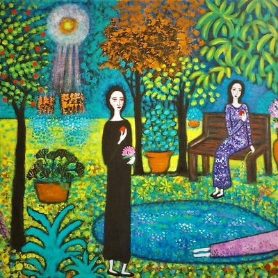 "(CreativeWork)  ""Aliens landing in the garden"" by Catherine Walker. acrylic-painting. Shop online at Bluethumb."
