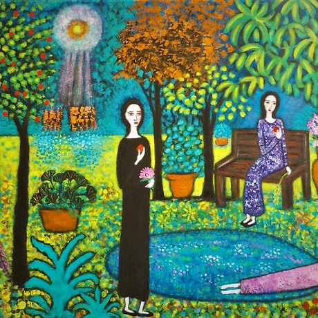"(CreativeWork)  ""Aliens landing in the garden"" by Catherine Walker. Acrylic Paint. Shop online at Bluethumb."