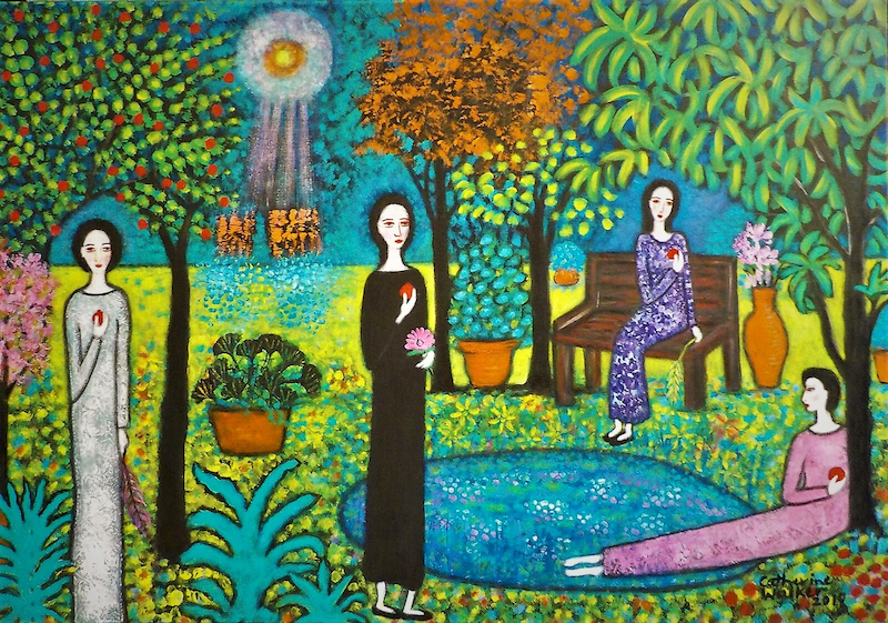 """(CreativeWork)  """"Aliens landing in the garden"""" by Catherine Walker. acrylic-painting. Shop online at Bluethumb."""