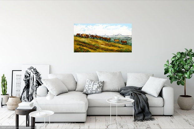 (CreativeWork) A Breakfast Stroll with a View by Judi Parkinson. Oil Paint. Shop online at Bluethumb.