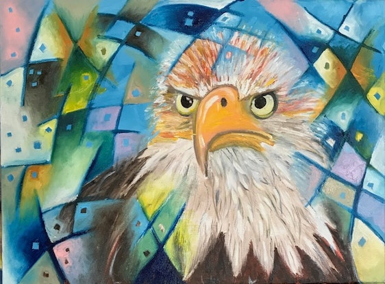(CreativeWork) See through the Eyes of an Eagle by Tania Weekes. Oil Paint. Shop online at Bluethumb.