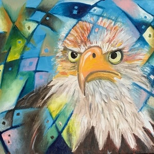 (CreativeWork) See through the Eyes of an Eagle by Tania Weekes. oil-painting. Shop online at Bluethumb.