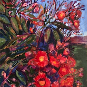 (CreativeWork) Scarlet Joy by Kate Gradwell - Landscapes. arcylic-painting. Shop online at Bluethumb.