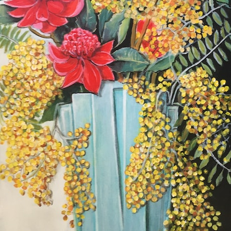 (CreativeWork) Wattle and Waratah by Jennifer Mitchelson. Acrylic Paint. Shop online at Bluethumb.