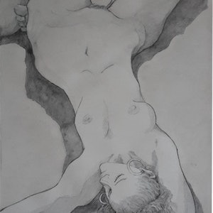 (CreativeWork) Reclining Nude Sketch by Mac Monks. #<Filter:0x0000557e9449e950>. Shop online at Bluethumb.