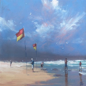 (CreativeWork) Between the Flags - beachscape by Mike Barr. oil-painting. Shop online at Bluethumb.