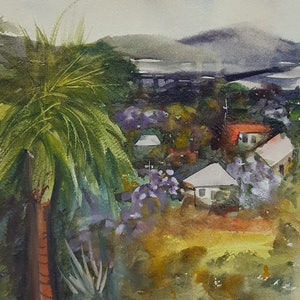 (CreativeWork) Off the Verandah by Marion Hughes. watercolour. Shop online at Bluethumb.