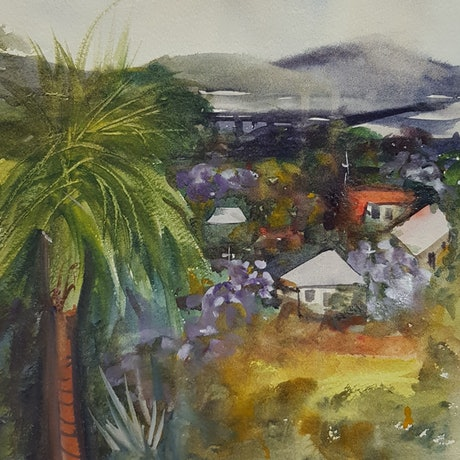 (CreativeWork) Off the Verandah by Marion Hughes. Watercolour Paint. Shop online at Bluethumb.
