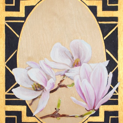 (CreativeWork) Magnolia Study by Abbey Turner. oil-painting. Shop online at Bluethumb.