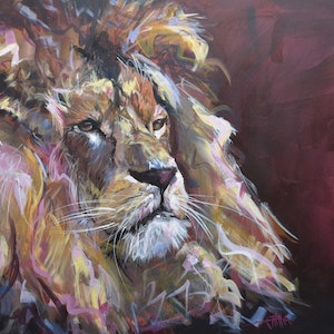(CreativeWork) Leo by Rebecca Hill. arcylic-painting. Shop online at Bluethumb.