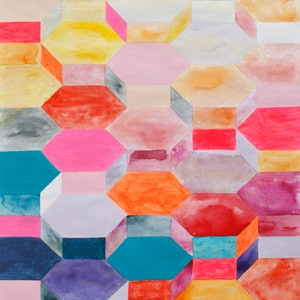 (CreativeWork) HEX - Geotricity Series by Melinda Katotriatis. mixed-media. Shop online at Bluethumb.