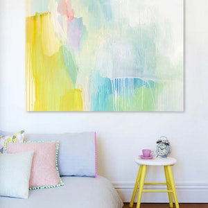 (CreativeWork) Aya - large, colourful, original painting by Stephanie Laine. arcylic-painting. Shop online at Bluethumb.