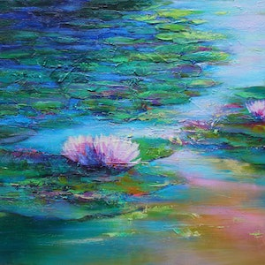 (CreativeWork) WATERLILY POND by Sandra Michele Knight. arcylic-painting. Shop online at Bluethumb.