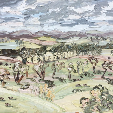 """(CreativeWork) """"Bathurst, May 2015 - Plein Air"""" by Sally West. Oil Paint. Shop online at Bluethumb."""