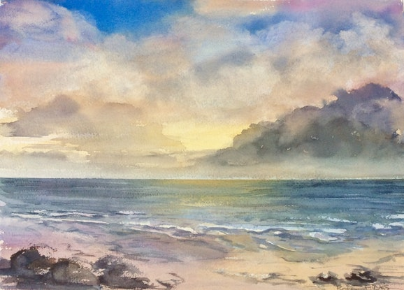 (CreativeWork) Southern Shores Sunset by Robin Hicks. Watercolour Paint. Shop online at Bluethumb.