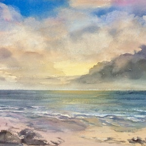 (CreativeWork) Southern Shores Sunset by Robin Hicks. watercolour. Shop online at Bluethumb.