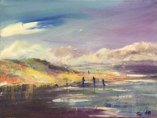 (CreativeWork) Walking in the Shallows - beachscape by Tina Barr. Acrylic Paint. Shop online at Bluethumb.