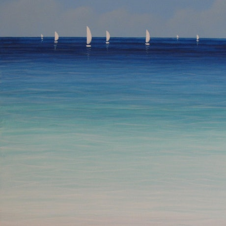 (CreativeWork) Sounds of the Sea II - blue green beach seascape by Elena Parashko. Acrylic Paint. Shop online at Bluethumb.