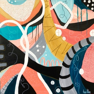 (CreativeWork) Coral Entwined  Colourful Abstract  by Lizzie Alsop. other-media. Shop online at Bluethumb.