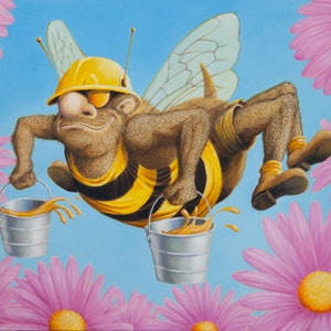 (CreativeWork) Working B by Graham Davidson. oil-painting. Shop online at Bluethumb.