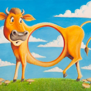 (CreativeWork) Holey Cow by Graham Davidson. oil-painting. Shop online at Bluethumb.